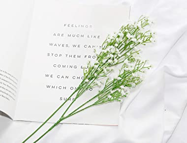 DuHouse 10Pcs Babys Breath Artificial Flowers Fake White Flowers Real Touch Gypsophila Floral in Bulk for Home Wedding Garden