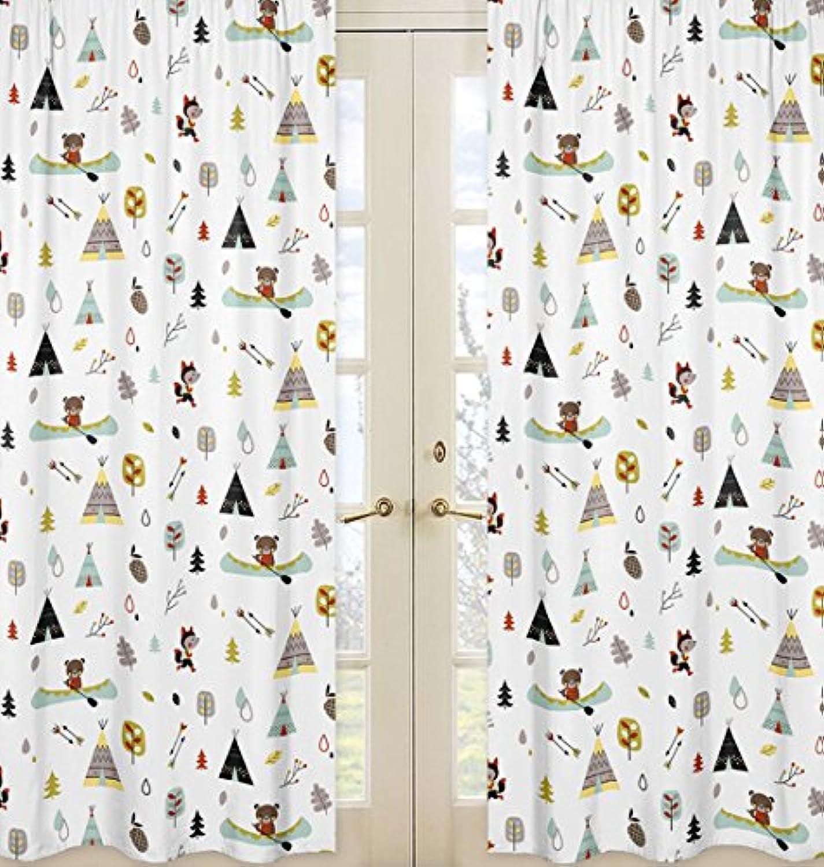 Sweet Jojo Designs 2-Piece Nature Fox Bear Animals Boys Window Treatment Panels for Outdoor Adventure Panels