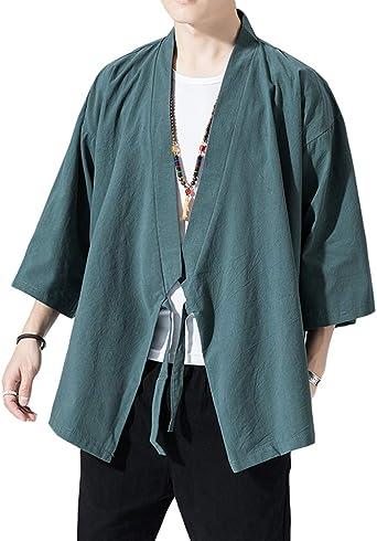 Sunma Chaqueta Haori Capa Clásico Japonés Happi Abrigo Cardigan Kimono Camisa para Hombre