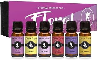 Floral Gift Set of 6/10ml Premium Grade Fragrance Oils - Lavender, Lilac Lillies, Jasmine, Plumeria, Rose Garden, Magnolia...