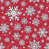 Henry Glass Weihnachtsflanellstoff, Schneeflocken, Rot,