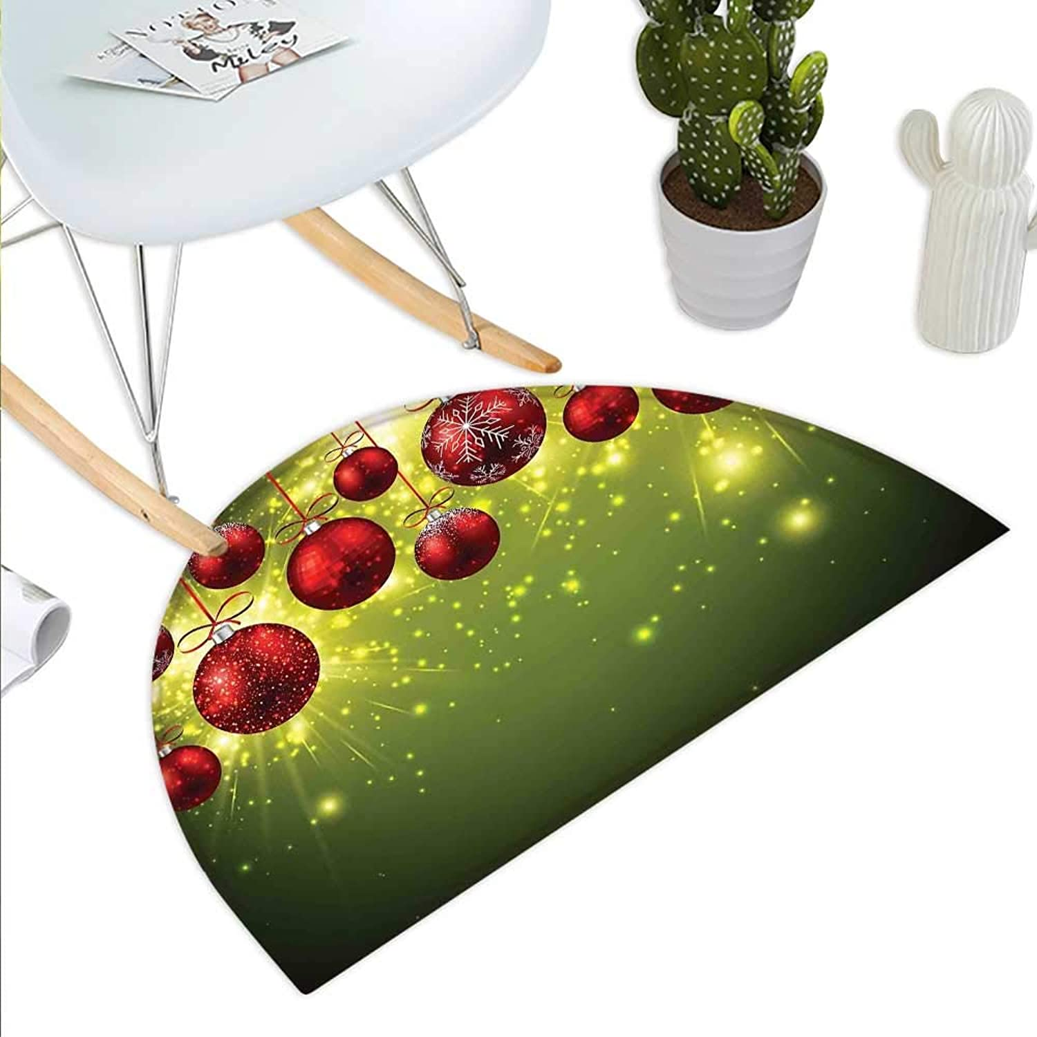 Christmas Semicircle Doormat Vibrant colord New Year Design with Psychedelic Digital Effects and Baubles Print Halfmoon doormats H 43.3  xD 64.9  Green Red