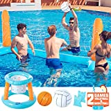 KIDPAR Inflatable Pool Float Set Volleyball Game and Basketball Hoops with 2 Balls Kids and Adults Swimming...