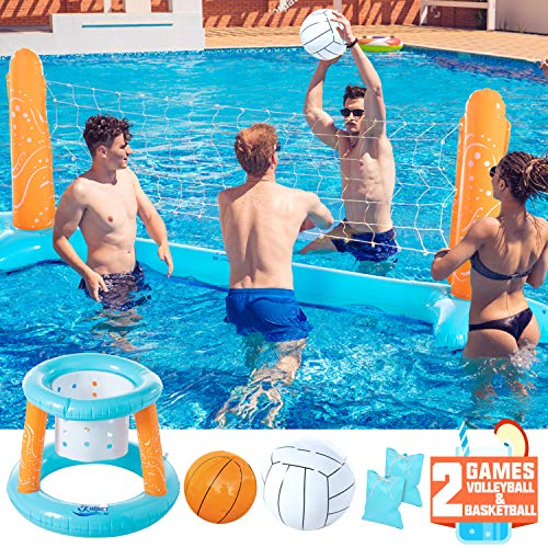 "KIDPAR Inflatable Pool Float Set Volleyball Game and Basketball Hoops with 2 Balls Kids and Adults Swimming Game Toy, Floating, Summer Floaties, Volleyball Court (105""x28""x35"")Basketball (27""x23""x27"")"