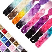24 Inch Ombre Jumbo Braiding Hair Extensions Jumbo Braid Hair Kanekalon Long Jumbo Braids For Box Twist Braid Crochet Hair High Temperature Fiber 3 Tone Colored (3 Bundles, Black to Sky Blue)