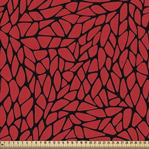 ABAKUHAUS Rouge Et Noir Tissu au mètre, Grille Abstraite, Tissu Décoratif pour les Rembourrages et les Décorations de la Maison, 1M (148x100cm), Rouge Noir