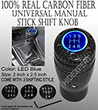 ICBEAMER 100% Real Carbon Fiber 5 6 Speed Stick Shift Manual Transmission Shift Knob with Blue LED Light