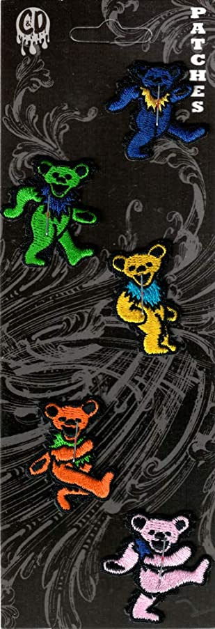 The Grateful Dead - Set of 5 Mini Jerry Bears - Embroidered Iron On Patches