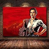 Red Action Adventure Game Redemption Dead Sharpshooter Arthur Morgan Canvas Painting Wall Art Poster Boy Fans Dormitorio Sala de juegos Club Decoración para el hogar Mural