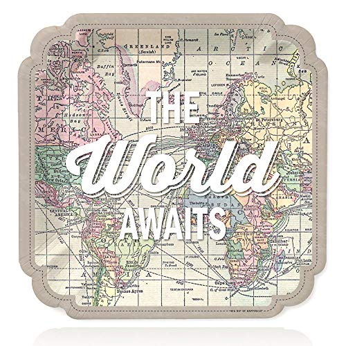 Big Dot of Happiness World Awaits - Travel Themed Party Dinner Plates - 16 Count