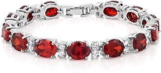 Gem Stone King 40.00 Ct Oval & Round Red Color Cubic Zirconias CZ Tennis Bracelet 7 Inch