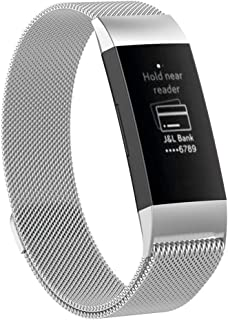 Wrist Band Compatible for Fitbit Charge 3, Milanese Magnetic Loop Stainless Steel Strap, Sport Wristband for Adult Unisex