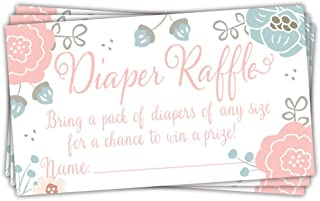 Charming Floral Diaper Raffle Tickets (50 Count) - Baby Shower Game