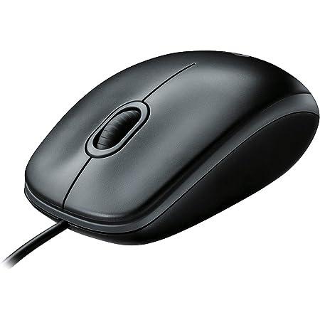Logitech B100 Ratón con Cable, 3 Botones, Seguimiento Óptico, Ambidiestro, PC/Mac/Portátil, Negro
