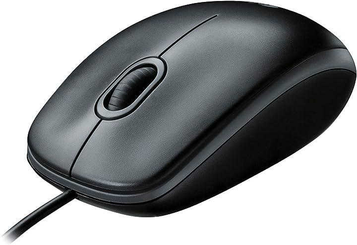 Mouse usb cablato, 3 pulsanti, rilevamento ottico, ambidestro - logitech b100