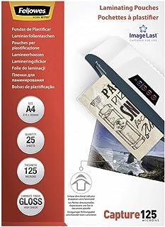 Fellowes 53963 - Pack de 25 fundas de plastificar, formato A4, 125 micras