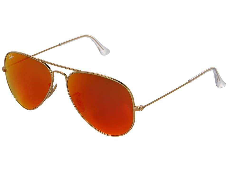 Ray-Ban RB3025 Original Aviator 58mm (Matte Gold/Red Mirror) Metal Frame Fashion Sunglasses