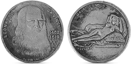 puhoon Commemorative Coin, Leonardo Da Vinci, Embossed Naked Lady Painting, Silver Plating Coin