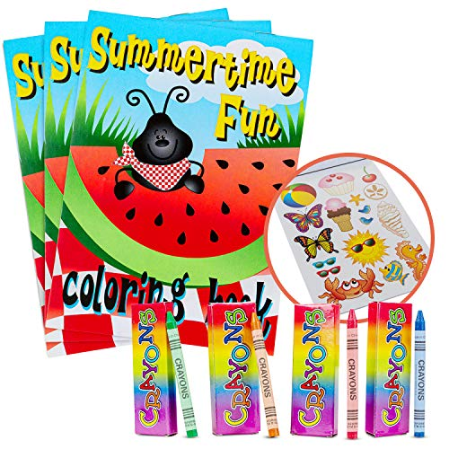 Favonir Party Favor Coloring Books And Crayons – Summertime Fun Design For Kids Activity – Artistic Sticker Included - Ideal For School, Home And Birthday Party Goodies - 12 Books 12 Pack Crayons