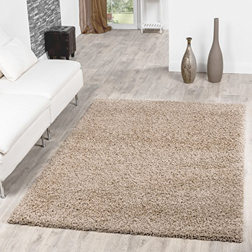 T&T Design Shaggy Teppich Hochflor Langflor Teppiche Wohnzimmer Preishammer versch. Farben, Farbe:beige, Größe:120x170 cm