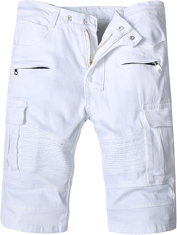 Men's Lightweight Multi Pocket Jean Cargo Shorts Casual Slim Stretchy Jeans Shorts Loose Knee Length Denim Short-Pant