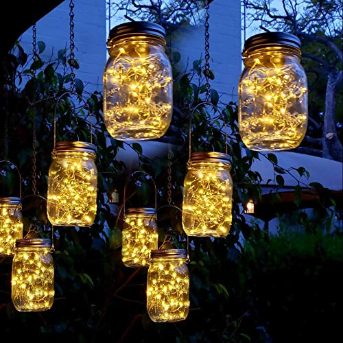 Aikeve Mason Jar Solar Lights,8 Pack 30 Led Fairy Hanging Jar Lights,Solar Lanterns for Outdoor Patio Party Garden Wedding Christmas Decor Lights(Mason Jars/Handles Included)