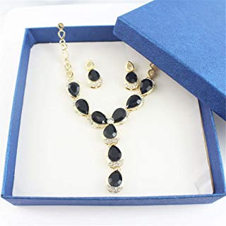 Turkish Women Wedding Jewelry Sets A Variety Of Colors Necklace Earrings Gold Color Black Water Drop Resin Material 1