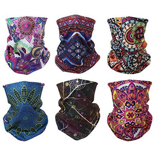 ACBungji 6er Multifunktionstuch Gesichtsmaske Set Motorradmaske Kopftuch Bandana Sturmmaske Maskewboard Paintball Fahrrad Bergsteigen Trekking Skateboarden Angeln (Boho Stil)