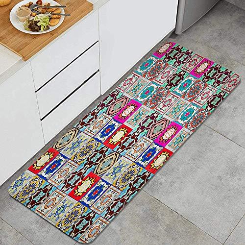 DYCBNESS alfombras de Cocina Antideslizantes Lavables,Patrones de baldosas cerámicas de Portugal,con Parte Trasera de Goma, felpudos para Interiores y Exteriores 45x120cm