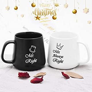 MCleanPin Mr Right and Mrs Always Right Coffee Mugs, Ceramic Couple Cups, Wedding Gifts for Couple,Bridal Shower Gifts, Engagement Gifts or Unique Coffee Mugs Gifts for Christmas,Anniversary,Birthday