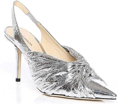 XLY Talons Aiguilles pour Femmes fermés Bout Pointu Pompes, Robe de soirée Confortable Sandales de Mariage Chaussures,argent,36