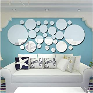 YZQ Mirror Wall Stickers Self-Adhesive Round Removable Acrylic Mirror Decoration for Art Window Wall Decal Kitchen Home Murals, 26 Pieces (Color : B)