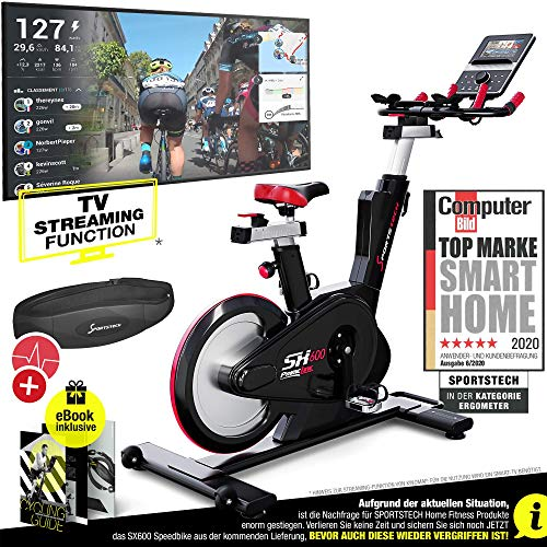 Sportstech Elite Indoor Cycle Bike – Deutsche Qualitätsmarke - Video Events & Multiplayer APP, computergesteuertes Magnetbremssystem,26KG Schwungrad, SX600 Speedbike Sportlenker, Ergometer inkl. eBook