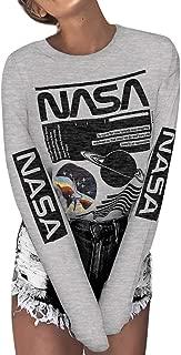 ZXH Women Casual Long Sleeve White NASA Letter Print Round Neck Pullover Sweatshirt