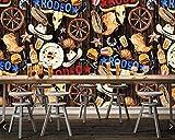 Papel tapiz fotográfico pintado a mano de dibujos animados restaurante gourmet...