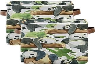 Tropicallife F17 Lot de 2 paniers de rangement pliables en toile avec poignée Motif panda chinois