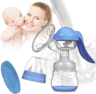 varibasu Manual Breast Pump, Portable Milk Pump, Big Capacity Soft Silicone Powerful Suction, Press Handle, with Nipple and Cover, Easy to Control Vacuum, BPA Free, 5oz/150ml, 84MM (Blue)