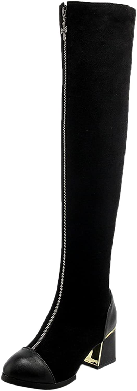 BIGTREE Over The Knee Boots Women Black Casual Zipper Fall Winter Block Comfortable Warm Long Boots