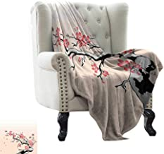 Littletonhome Reversible Blanket Flowering Cherry Branch with Flying Bees Summer Garden Windy Day Nature Artwork Anti-Static Throw 70