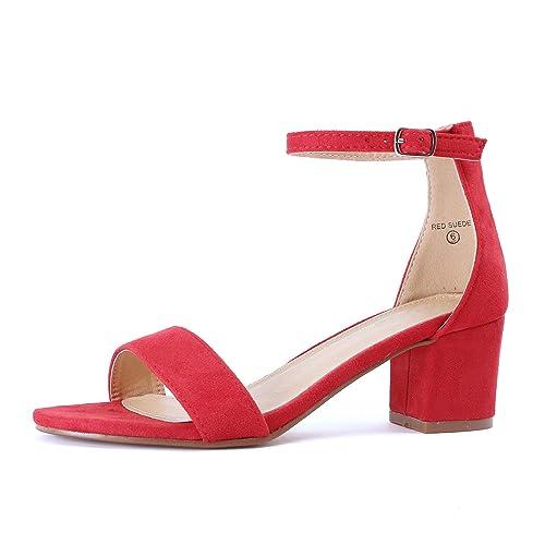 9c2e1c5b7b2 Red Block Heel Sandals  Amazon.com