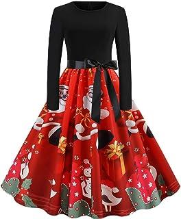 ZODOF Vestidos Navidad Mujer Manga Larga O Cuello De Impresión Vintage Vestido De Fiesta De La Noche Vestidos de Fiesta Christmas Dress Women