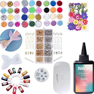 Epoxy UV Resin Gel Glue Tool Kit, Decorative Objects Tint Pigment Dry Flower Specimen Mermaid Silicone Molds For DIY Penda...