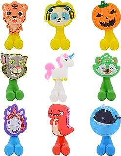 WhatUneed - Portaspazzolino da parete per bambini, con ventosa a forma di animale, 9 pezzi