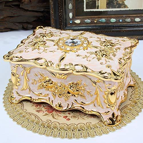 YuanBo Wu Caja de joyería con Incrustaciones de Diamantes de imitación Inicio Tocador Doble Espacio de Almacenamiento decoración de la Caja Esmalte Pintado Regalos Metal Craft (Color : Blanco)