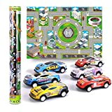 Mini Pull Back Vehicles Colourful Race Car with Truck Mat Friction Toy Set Education Game for Kids Boys and Girls 3 4 5 6 year old (6pcs)