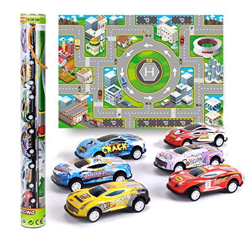 Vanplay Auto Giocattolo Metallo Macchinine Tirare Indietro Autos Compreso Mappa del Gioco di Corse e 6 Mini Veicoli Regalo per Bambini Oltre 3 Anni