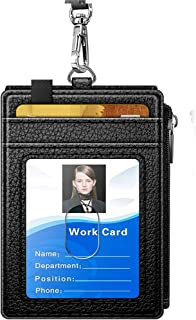 CHUCKSSS-DS-00014 Badge Holder with Zipper, Arae PU Leather ID Badge Card Holder Wallet with Cash Pockets Credit Card Slot...