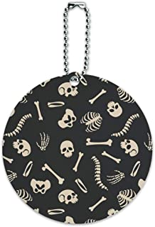 Skeleton Skull Bones Rib Cage and Femur Pattern Round Luggage ID Tag