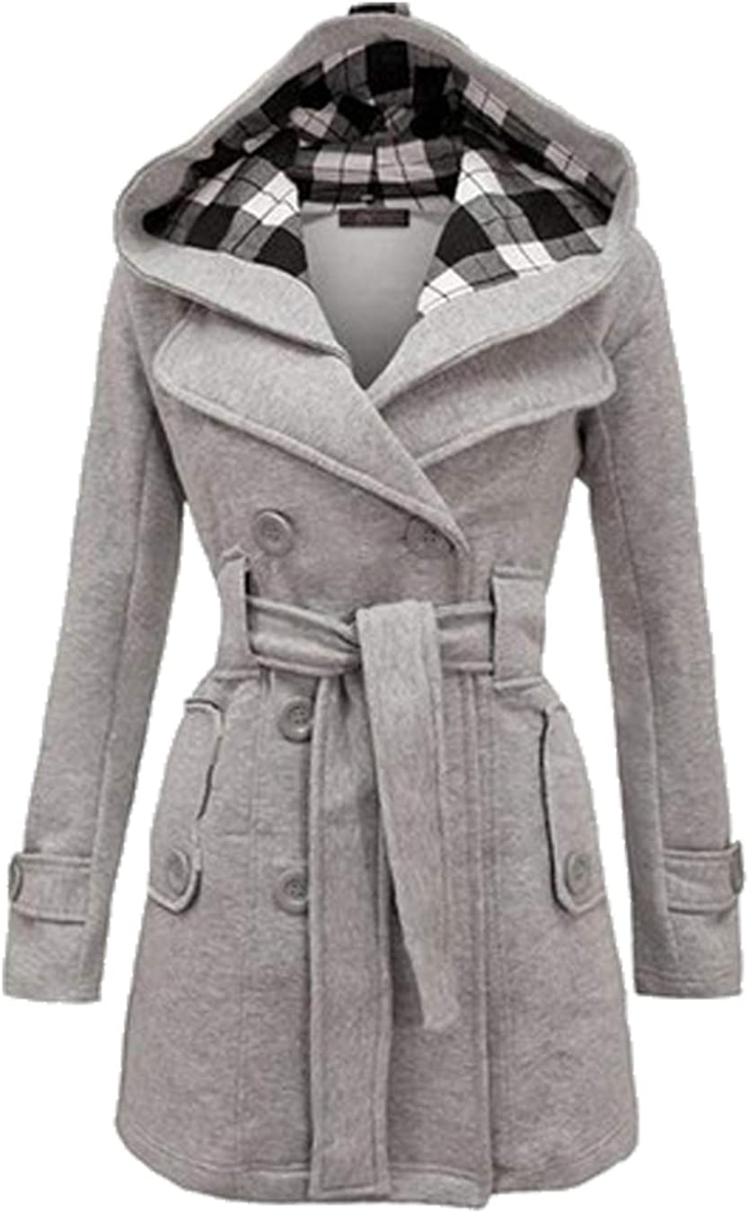 EFOFEI Womens Wool Blend Double Breasted Winter Midi Length Trench Coat with Hood