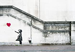 Wieco Art - Banksy Grafitti Girl with Red Balloon Modern Stretched and Framed Giclee Canvas Prints Artwork Grey Love Pictu...
